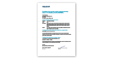 VULKAN COUPLINGS declaration of incorporation overview thumbnail